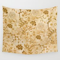floral pattern Wall Tapestries featuring Floral pattern by nicky2342