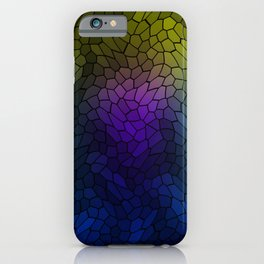 Volumetric texture of pieces of blue glass with a luminous mysterious mosaic. iPhone Case