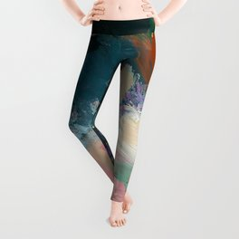 Sweet Nothings: a colorful floral abstract in pinks, reds, blues, and white Leggings