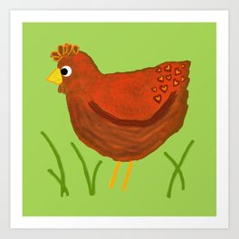 Chicken with Heart Pattern Art Print