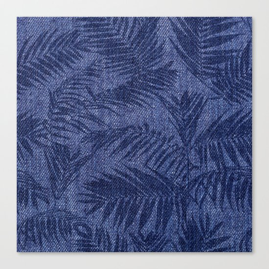 Tropical pattern on blue jeans Canvas Print