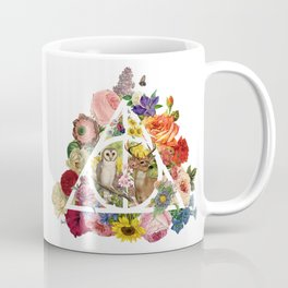 Floral Deathly Hallows Owl and Stag - White Coffee Mug