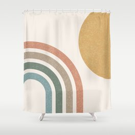 Mid Century Colorful Sun & Rainbow Shower Curtain