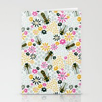 bees Stationery Cards featuring Bees by Yellow Button Studio