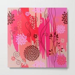 Boho Floral Pattern Var. 10 Metal Print