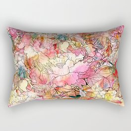 Summer Flowers | Colorful Watercolor Floral Pattern Abstract Sketch Rectangular Pillow