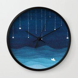 Falling stars, blue, sailboat, ocean Wall Clock