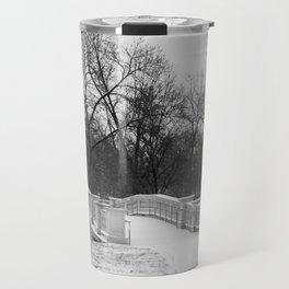 Winter Solitude - St. Louis Snowy Bridge Travel Mug
