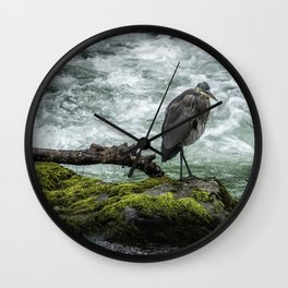 Great Blue Heron on the McKenzie, No. 1 Wall Clock