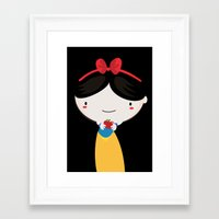 snow white Framed Art Prints featuring Snow white by Maria Jose Da Luz