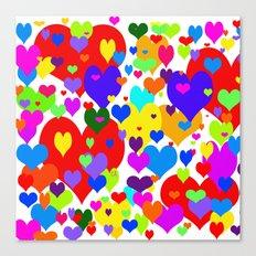 Beaucoup de coeurs de couleur Canvas Print