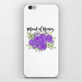 Maid Of Honor Wedding Bridal Purple Violet Lavender Roses Watercolor iPhone Skin