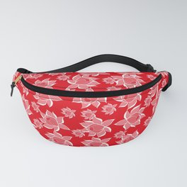 Lovely Flowers on red Background Fanny Pack