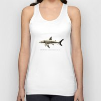 biology Tank Tops featuring Carcharodon carcharias II ~ Great White Shark by Amber Marine