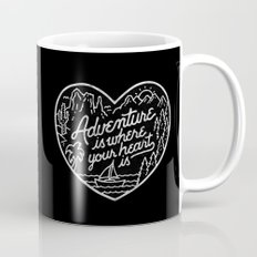 Adventure is where your heart is BW Mug