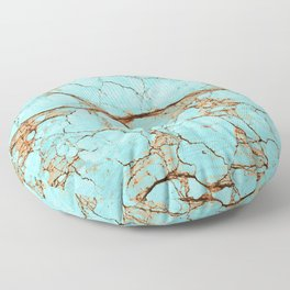 Rusty Cracked Turquoise Floor Pillow