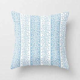 Mid Century Modern Berry Vine Stripes Pale Blue Throw Pillow