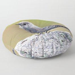 Watercolor Bird, Mountain Bluebird 03, Moraine Park, RMNP, Colorado Floor Pillow