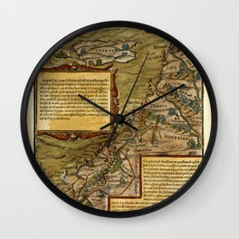 Map Of The Holy Land 1544 Wall Clock