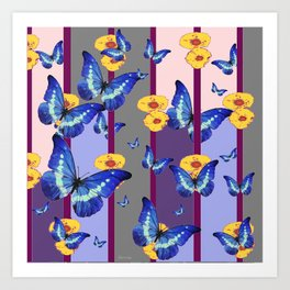 CATCHING BLUE BUTTERFLIES IN YELLOW FLORAL  CAGE Art Print