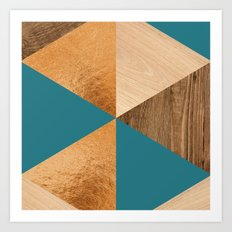 Gold Green Wood Art Print