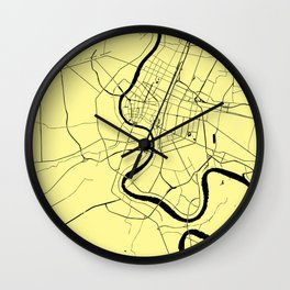 Bangkok Thailand Minimal Street Map - Pastel Yellow and Black Wall Clock