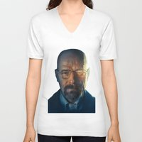 walter white V-neck T-shirts featuring Walter White by turksworks