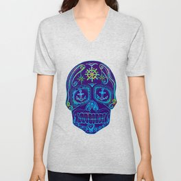 Nautical Sugar Skull Unisex V-Neck