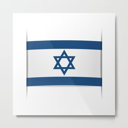 Flag of Israel. Vector illustration of a stylized flag. The slit in the paper with shadows Metal Print