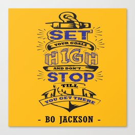 Set your goals high Bo Jackson Inspirational Sports Typographic Quote Art Canvas Print