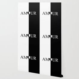 AMOUR LOVE Black And White Design Wallpaper