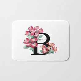 Letter 'B' Begonia Flower Monogram Bath Mat