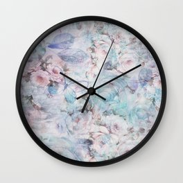 Shabby vintage pastel pink teal floral butterfly typography Wall Clock