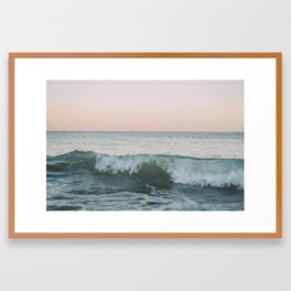 Sunset waves crashing Framed Art Print