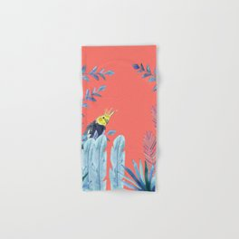 Cockatiel with tropical foliage and coral pink background Hand & Bath Towel