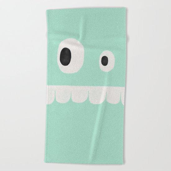 Face VI (mint green) Beach Towel
