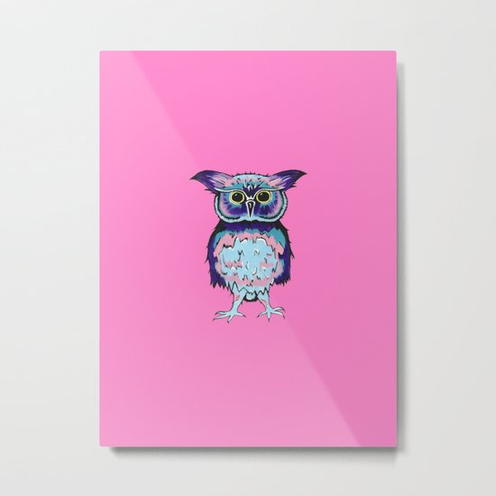 Small Owl Pink Metal Print