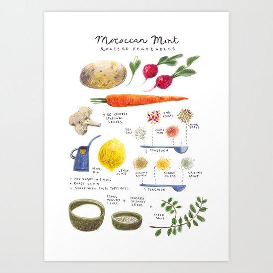 illustrated recipes: moroccan mint vegetables Art Print