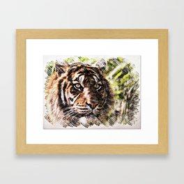 Tiger Eyes Piercing Through the Jungle Framed Art Print