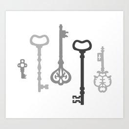 Light Grey Victorian Keys Art Print