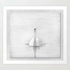 Ghostly White Swan Art Print