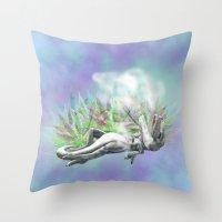trex Throw Pillows featuring weed trex by raulovsky (Raúl Ramos Melo)