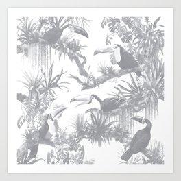 Toucans and Bromeliads - Sharkskin Grey Art Print