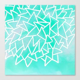 Blue turquoise watercolor geometric triangles Canvas Print