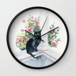 Guard Cat On Duty Wall Clock