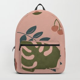 Rainforest Foliage with pink background Backpack