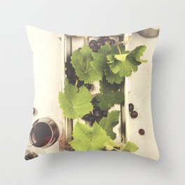 Wine and grapes over grey marble background Throw Pillow