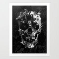 Kingdom Skull B&W Art Print