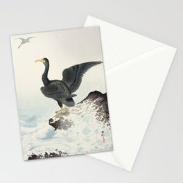 Cormorants at stormy sea - Japanese vintage woodblock print art Stationery Cards