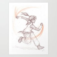 the legend of korra Art Prints featuring Korra by AndytheLemon